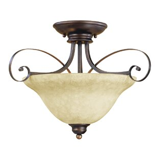 Samson 2-Light Semi Flush Mount by Fleur De Lis Living