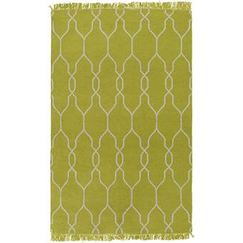 Charlton Home Larksville Geometric Handmade Flatweave Green Indoor Outdoor Area Rug Reviews Wayfair