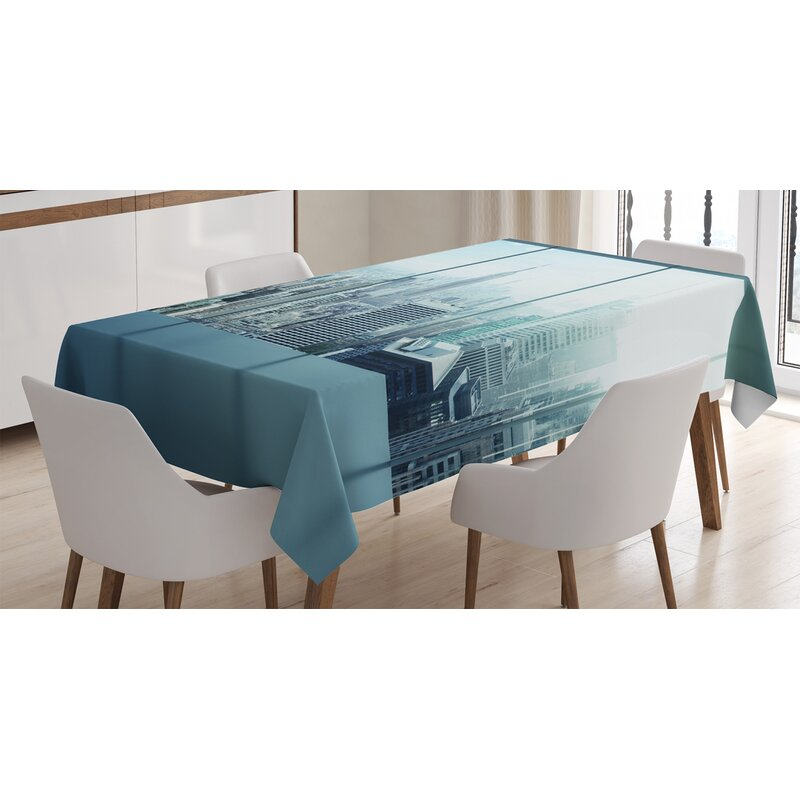 East Urban Home Ambesonne New York Tablecloth Aerial View Of A Big Crowded Modern City From The Office New York Buildings Urban Rectangular Table Cover For Dining Room Kitchen Decor 60 X