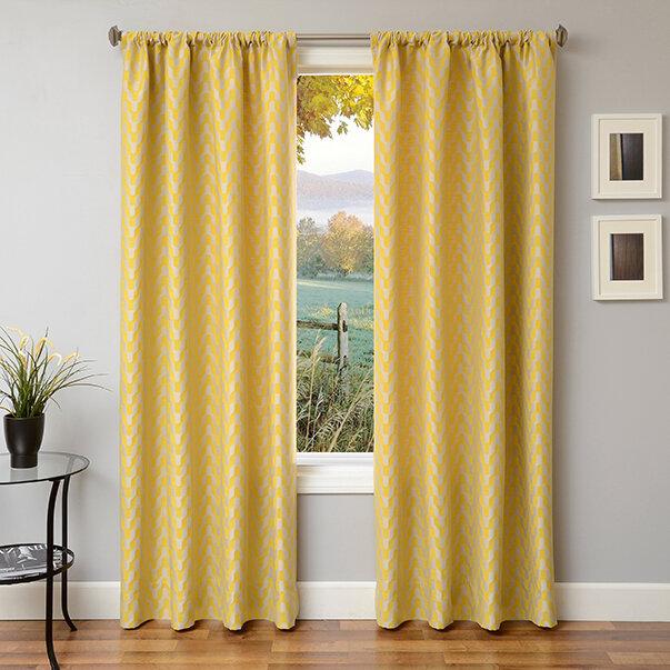 Ebern Designs Arellano Chevron Room Darkening Rod Pocket Single Curtain Panel Reviews Wayfair