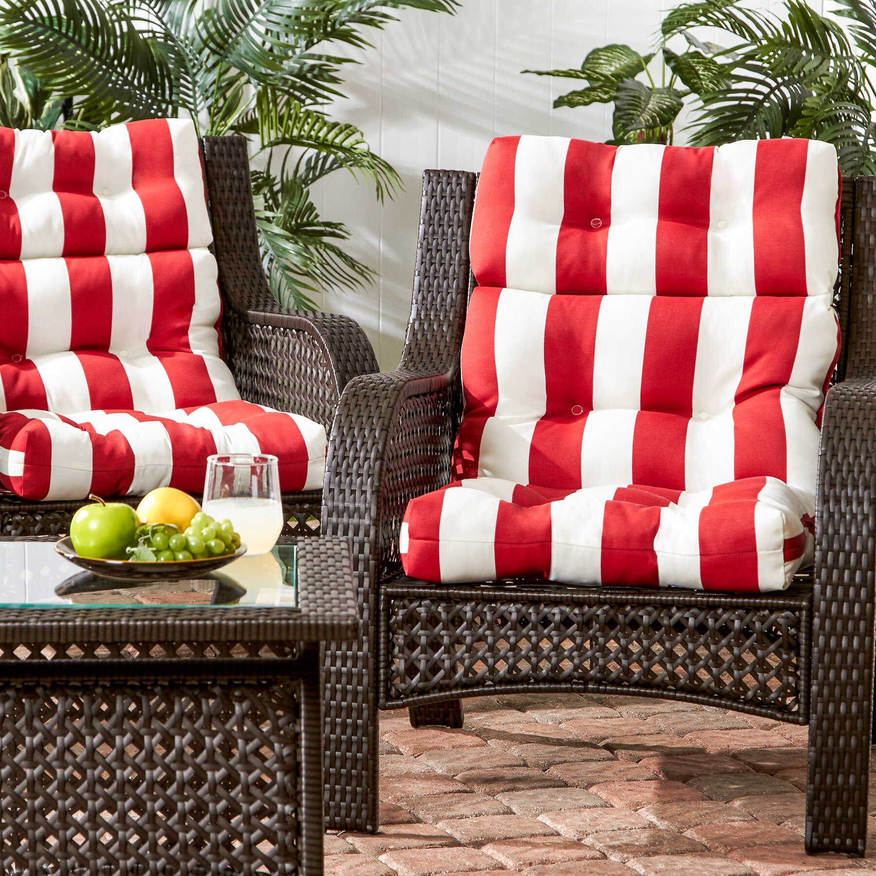 Outdoor Patio Couch Set, Cabana Stripe High Back Indoor Outdoor Seat Back Cushion Reviews Birch Lane