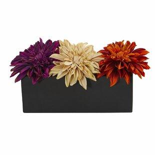 Dahlia Artificial Floral Arrangement in Planter