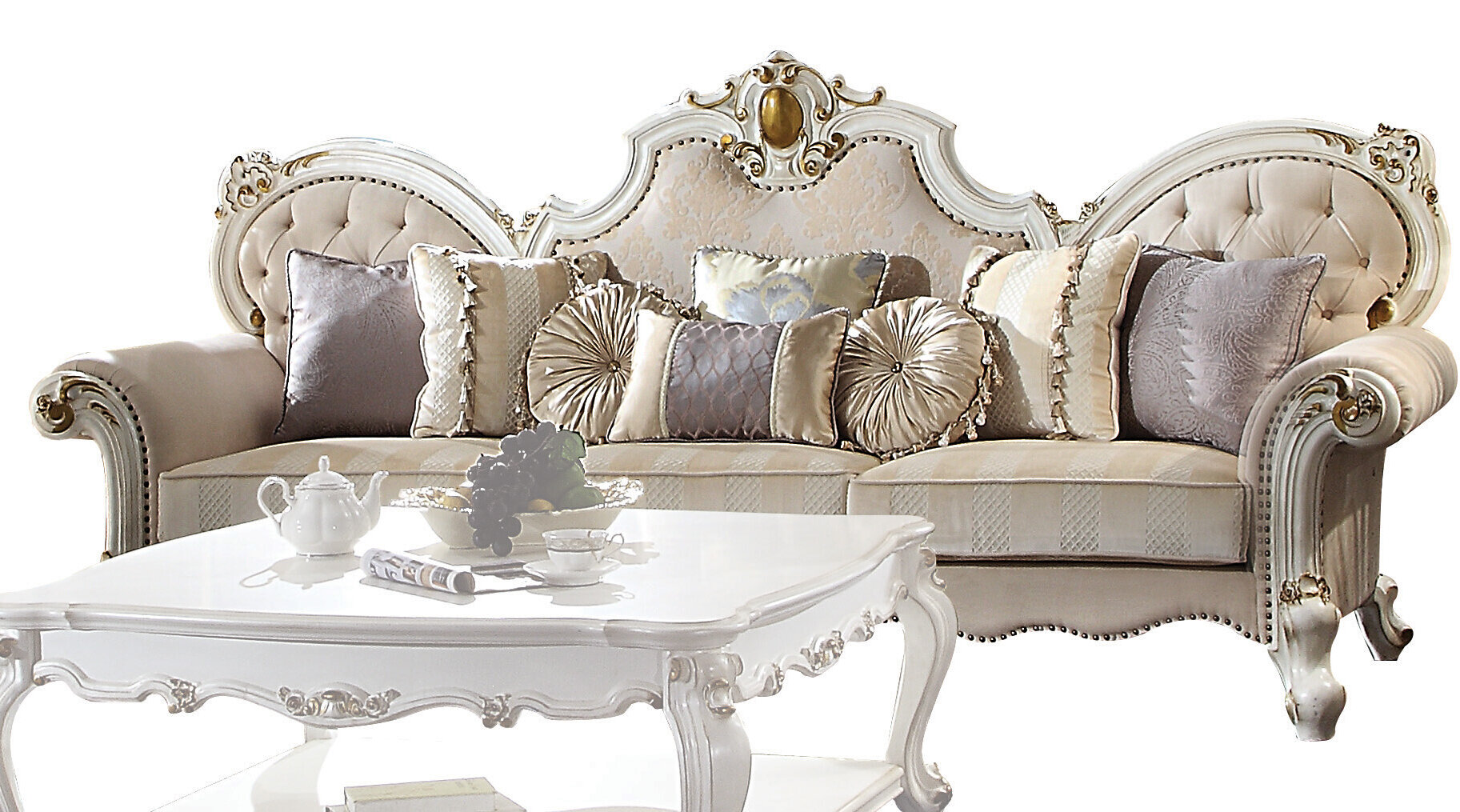 Acme Picardy Oversized Sofa With 8 Pillows In Fabric Antique Pearl