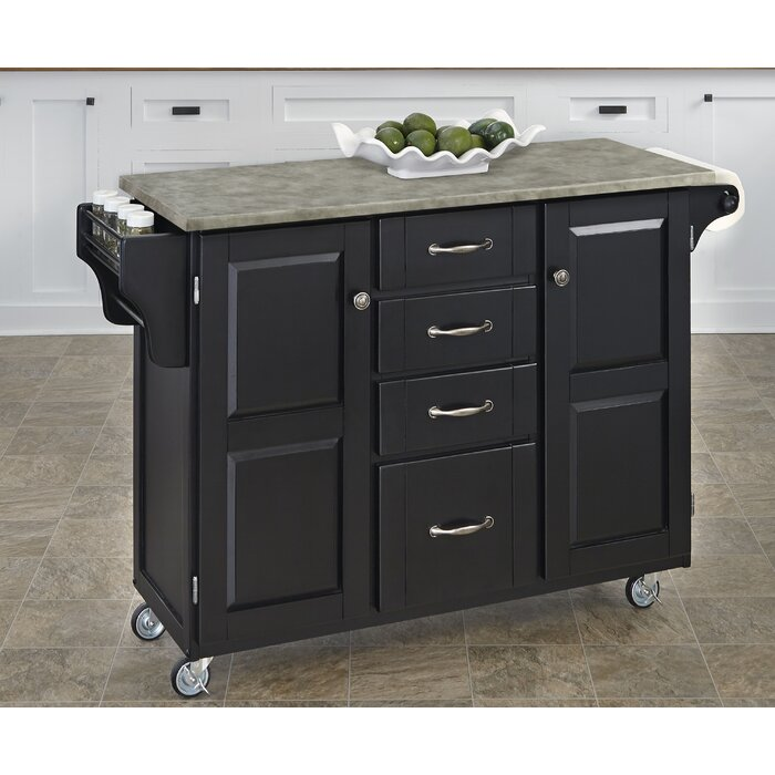 Create-a-Cart Kitchen Island with Concrete Top