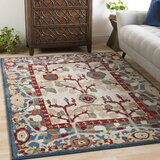 Arbouet Navy/White Area Rug by Charlton Home