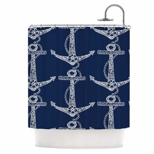 Floral Anchors Single Shower Curtain