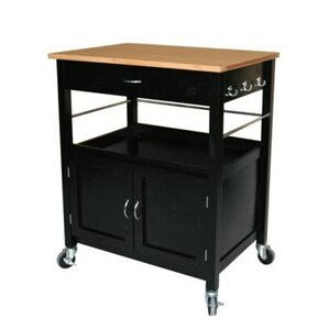 Superior Stillman Kitchen Island Cart With Natural Butcher Block Bamboo Top