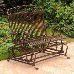 Enjoyable Nocona Iron Double Patio Glider Bench Lamtechconsult Wood Chair Design Ideas Lamtechconsultcom