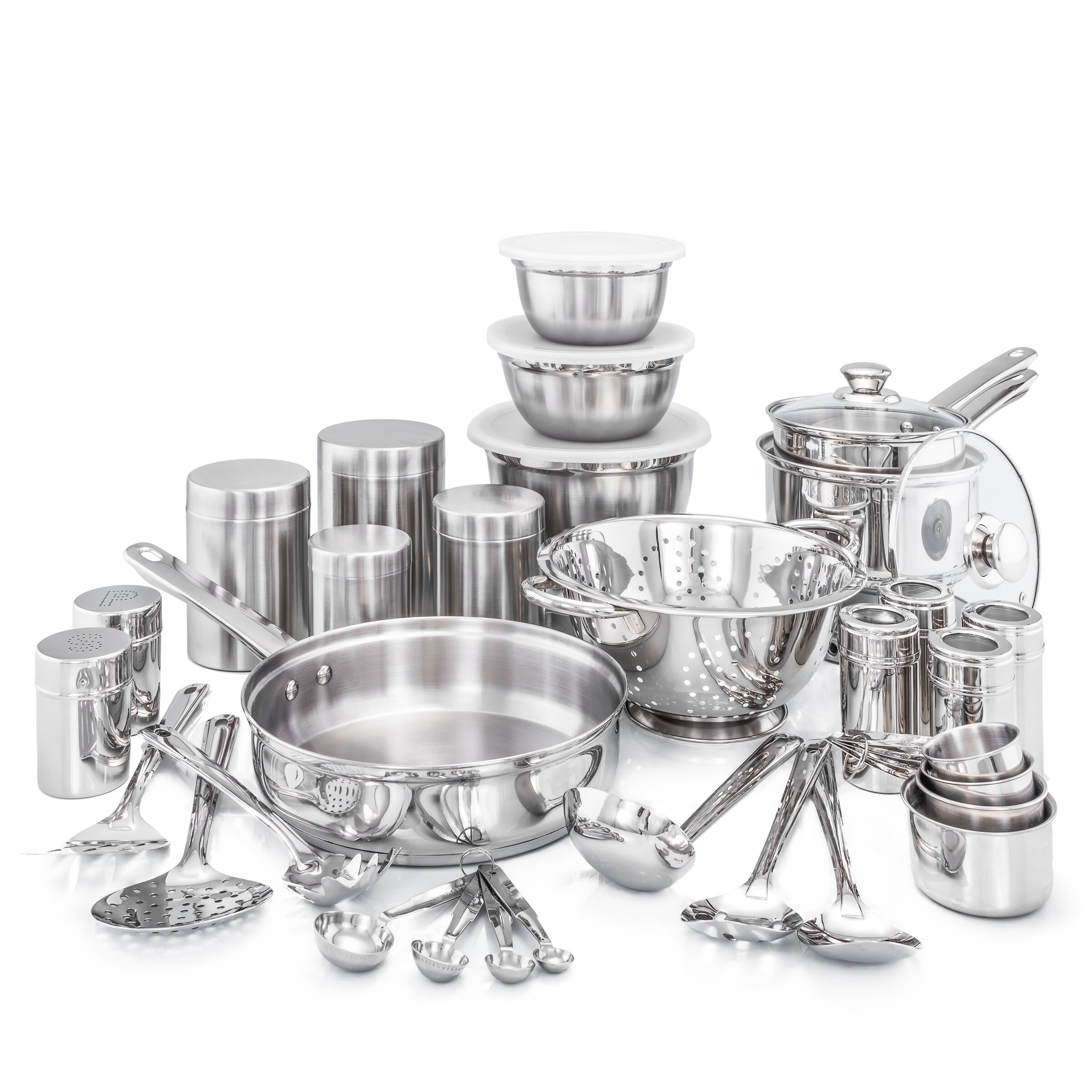 What Is Stainless Steel Made Of >> 36 Piece Kitchen In A Box Stainless Steel Cookware Set