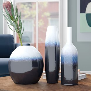 3 Piece Samsel Navy/White Indoor / Outdoor Ceramic Table Vase Set