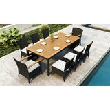 Aisha 9 Piece Teak Sunbrella Dining Set with Cushions