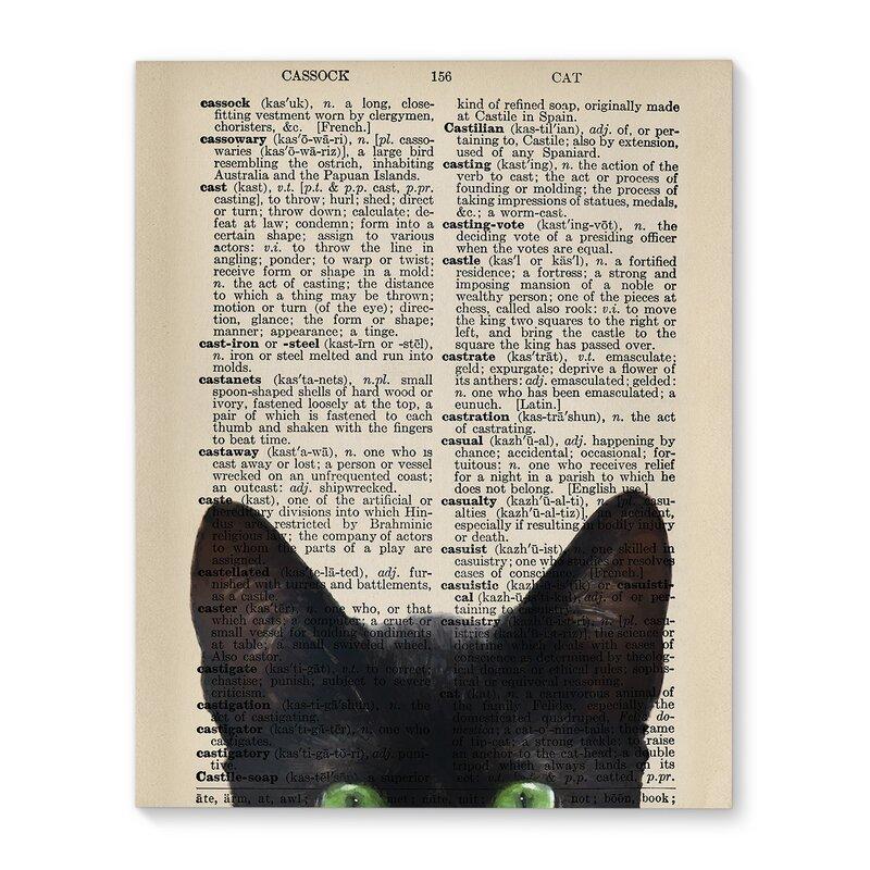 Wrought Studio Black Cat Peekaboo Wrapped Canvas Graphic Art Print Wayfair