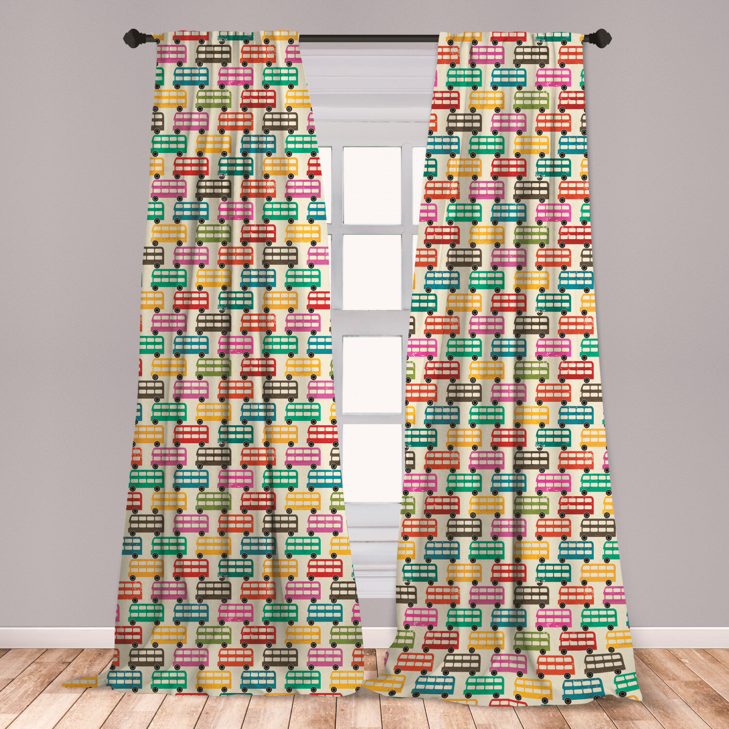 East Urban Home Ambesonne Colorful Curtains London S Famous Double Decker Bus Silhouettes Pattern With Worn Out Background Window Treatments 2 Panel Set For Living Room Bedroom Decor 56 X 63 Multicolor Room