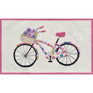 Online Reviews Pink/Cream Flower Bike Area Rug By The Conestoga Trading Co.