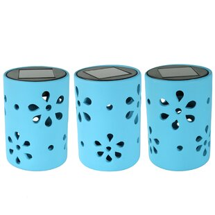 Red Barrel Studio Jiang Ceramic Jar Style 1 Light LED Step Light with Flower Cutouts (Set of 3)