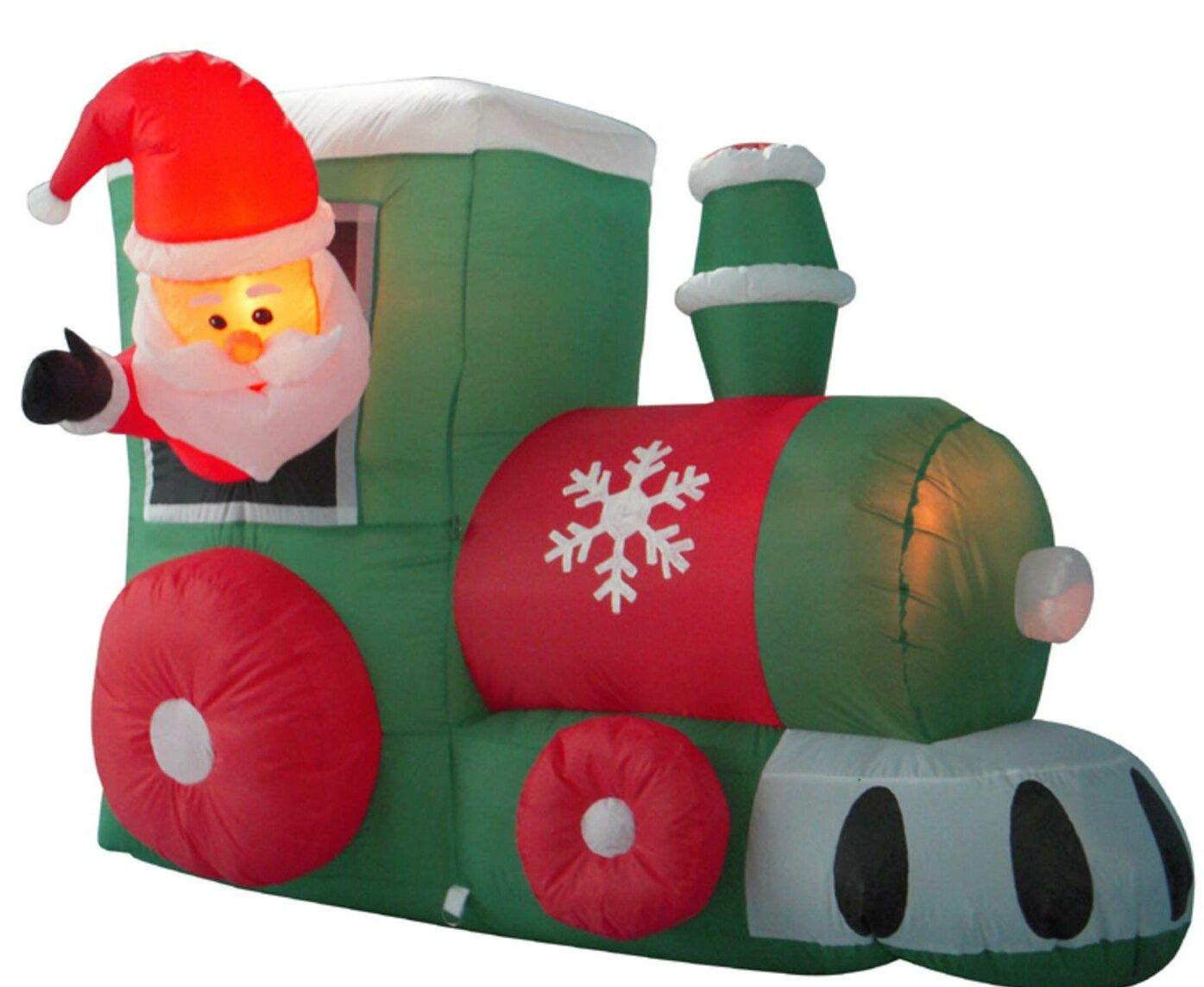 the holiday aisle santa on locomotive train lighted christmas inflatable wayfair