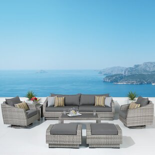 Greenfield Deluxe 8 Piece Rattan Sunbrella Sofa Seating Group with Cushions