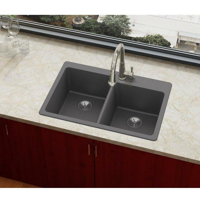 Elx250rch0 Quartz Luxe 33 L X 22 W Double Basin Drop In Kitchen Sink