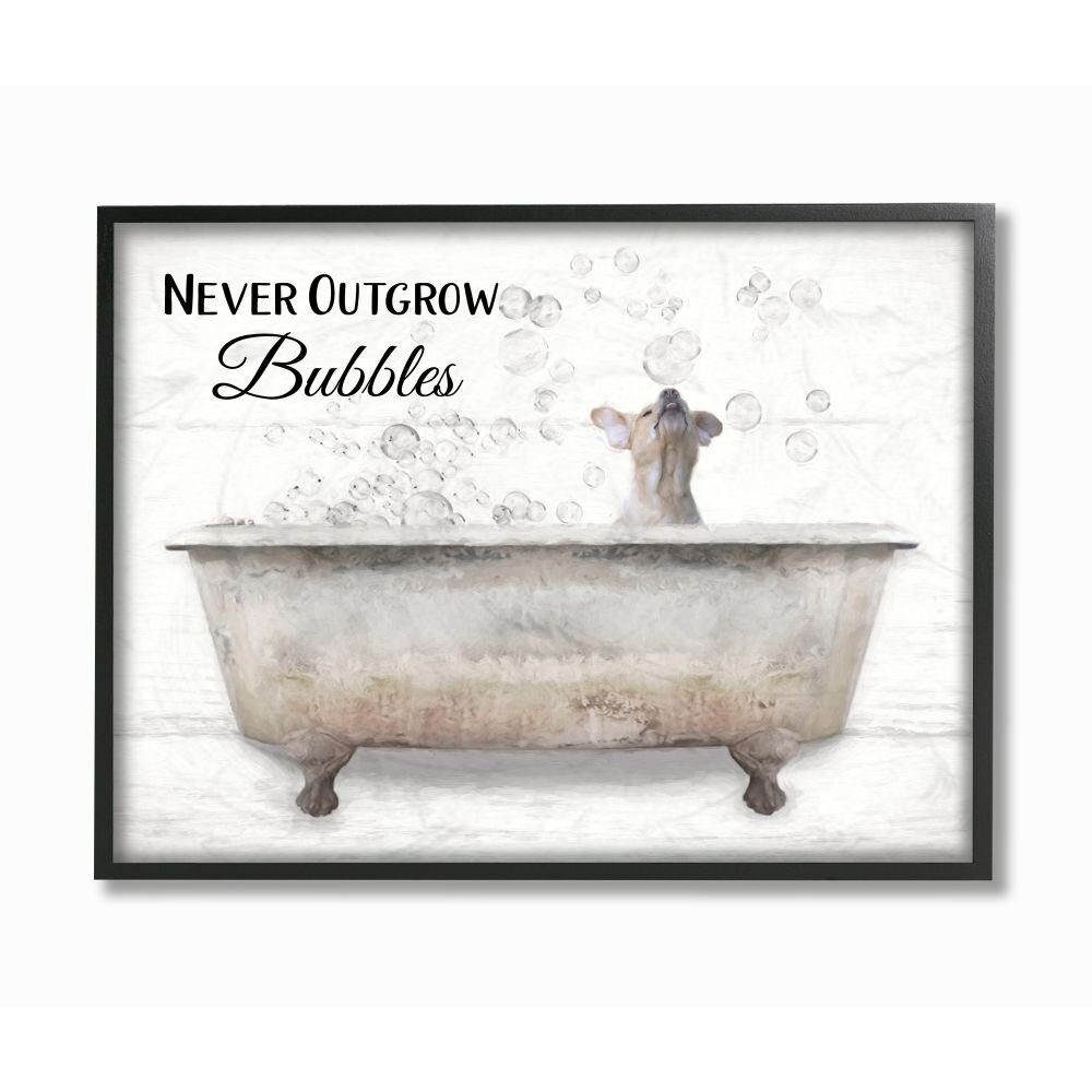 Stupell Never Outgrow Bubbles Bath Dog In Tub Word Design' by Lori Deiter
