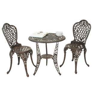 Tensed 3 Piece Bronze Cast Aluminum Outdoor Bistro Set