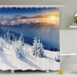 Winter Fantastic Disappearance of Sunrise in Mountain Tops Dramatic Sky Alpine Shower Curtain Set