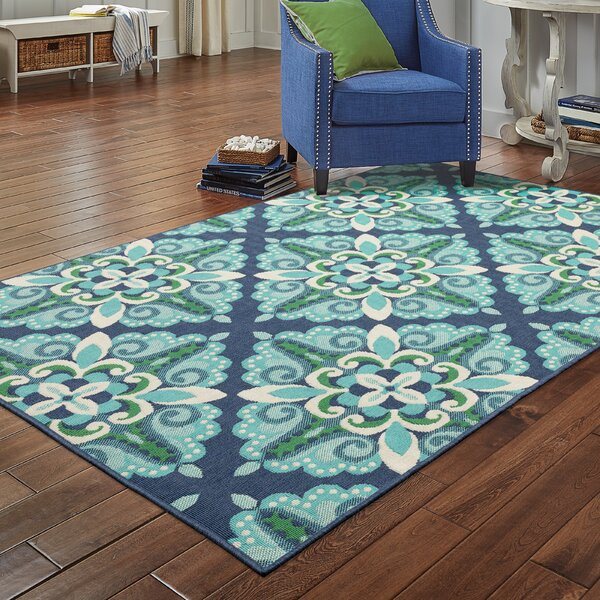 Beachcrest Home Kailani Floral Blue Indoor Outdoor Area Rug Reviews Wayfair