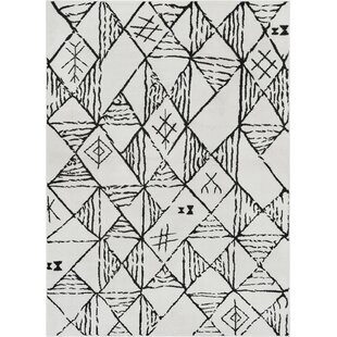 Best Price Peebles Magnificent Moroccan Trellis Geometric Mid-Century Soft Black Area Rug By Bloomsbury Market