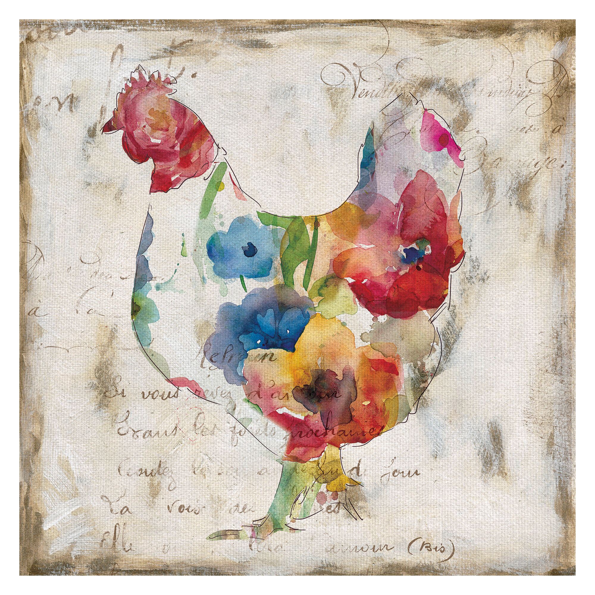 Fleur De Lis Living Flowered Hen Watercolor Painting Print On Wrapped Canvas Wayfair