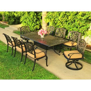 Fleur De Lis Living Camptown 9 Piece Sunbrella Dining Set with Cushions