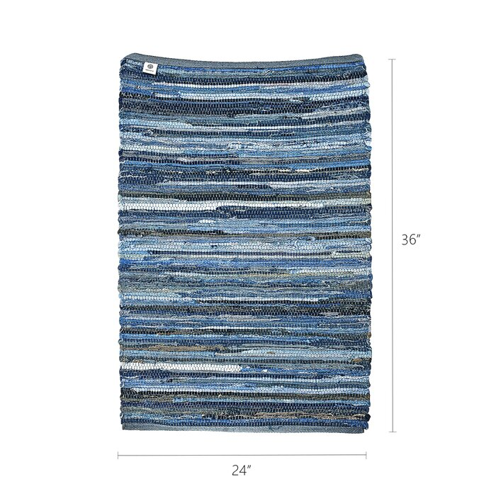 Ebern Designs Denim Rag Rug Washable Cotton Hand Woven Reversible Blue Striped Recycled Throw Entryway Laundry Room Kitchen 2 3