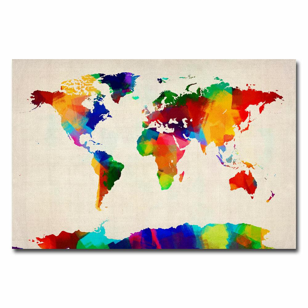 14 by 19-Inch Trademark Fine Art Childrens World Map by Michael Tompsett Canvas Artwork