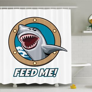 Sea Animal Funny Vintage Quote with Hungry Hound Shark Head in Ship Window Humor Print Shower Curtain Set