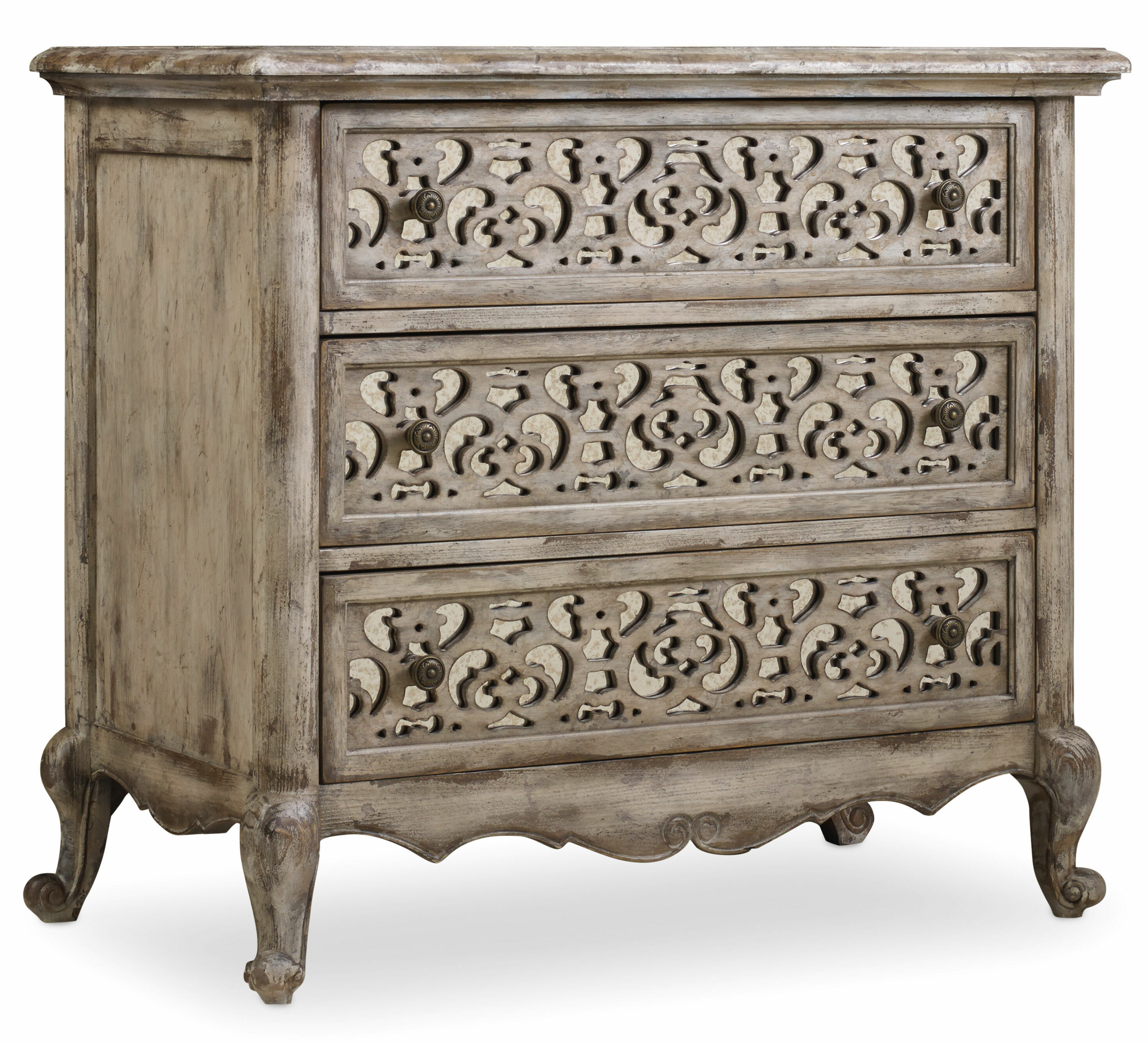 Picture of: Hooker Furniture Chatelet 3 Drawer Bachelor S Chest In Distressed Vintage White Reviews Wayfair