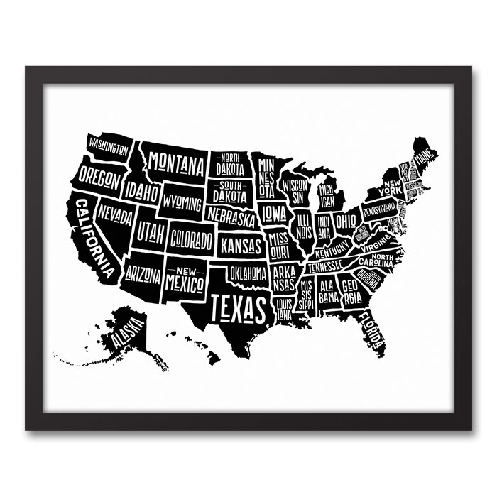\'Simple United States World Map\' Framed Graphic Art Print