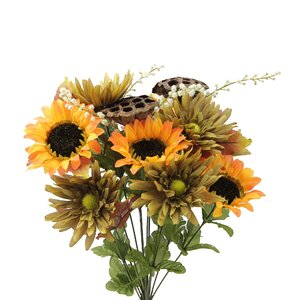 14 Stems Artificial Sunflower, Gerbera Daisy and Lotus Root Mixed Flowers Bush for Home Office, Wedding, Restaurant Decoration Arrangement