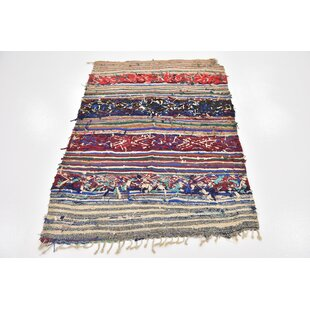 Inexpensive One-of-a-Kind Ilfracombe Hand-Knotted 3'5 x 5' Cotton Black/Beige Area Rug By Isabelline