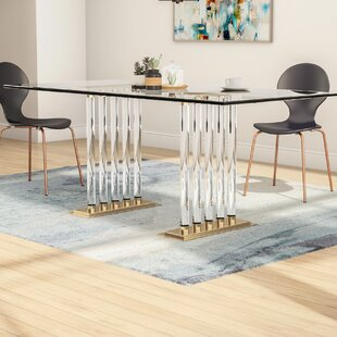 Brayden Studio Gehlert Glass Dining Table