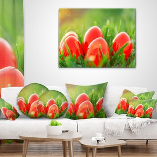 Easter Eggs in Grass Landscape Photography Pillow