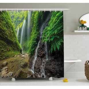 Waterfalls Side Valley in Indonesia with Asian Bushes above the Hills Shower Curtain Set By Ambesonne
