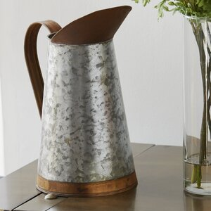Gray Metal Decorative Pitcher