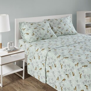 Elidge Cozy Soft Cotton Seafoam Fox Print Sheet Set