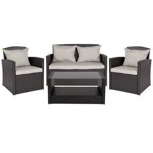 Accomac 4 Piece Rattan Complete Patio Set with Cushions