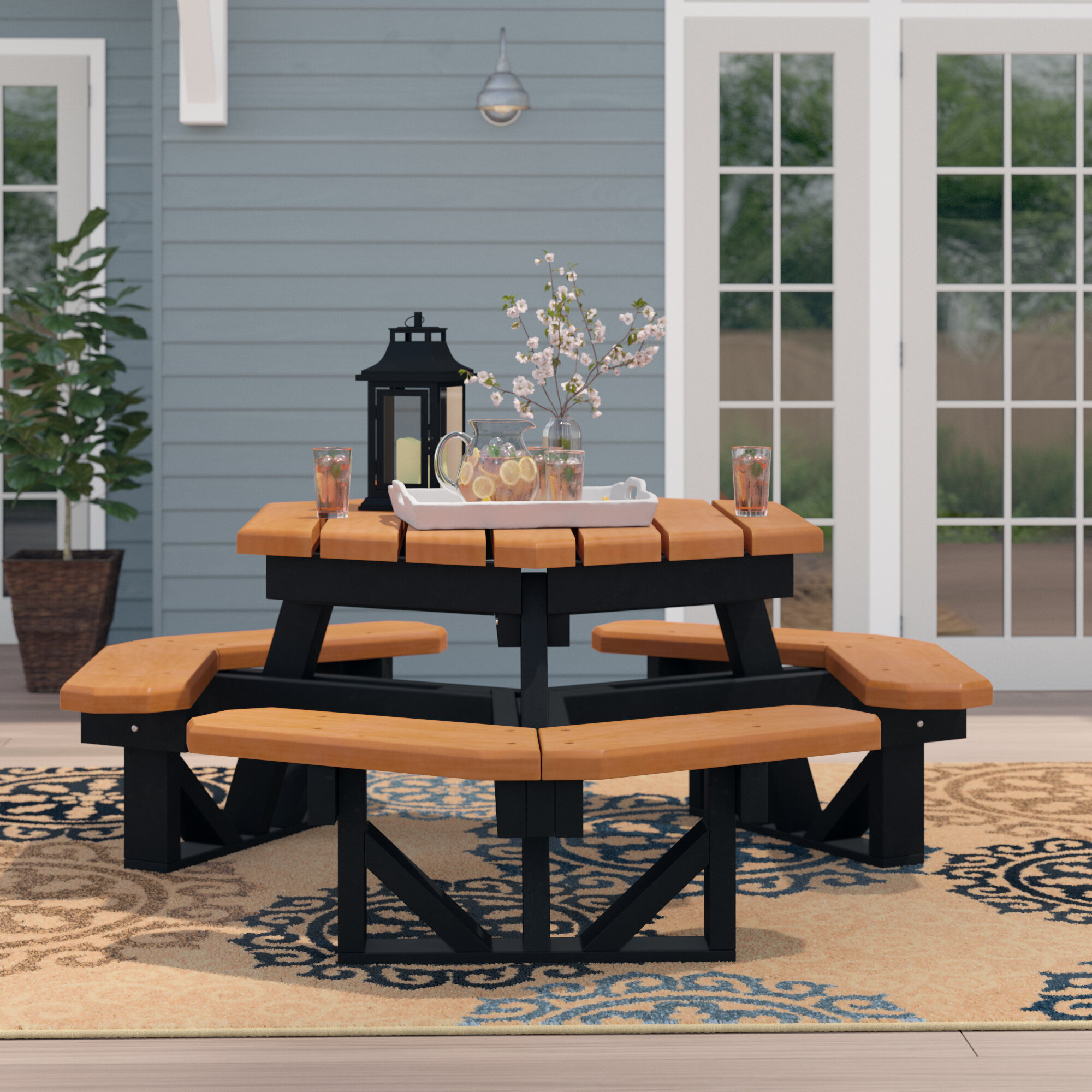 Excellent Picnic Umbrella Hole Patio Tables Youll Love In 2019 Wayfair Interior Design Ideas Gentotthenellocom