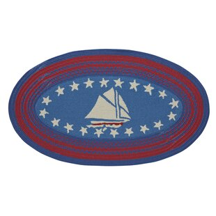 Wieland Maritime Sailboat Hand-Braided Blue Area Rug by Breakwater Bay