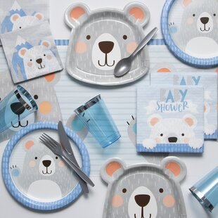 Mchugh Bear Baby Shower Paper/Plastic Party Supplies Kit
