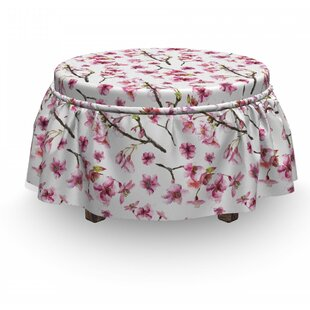 Blossom Sakura Branch 2 Piece Box Cushion Ottoman Slipcover Set By East Urban Home