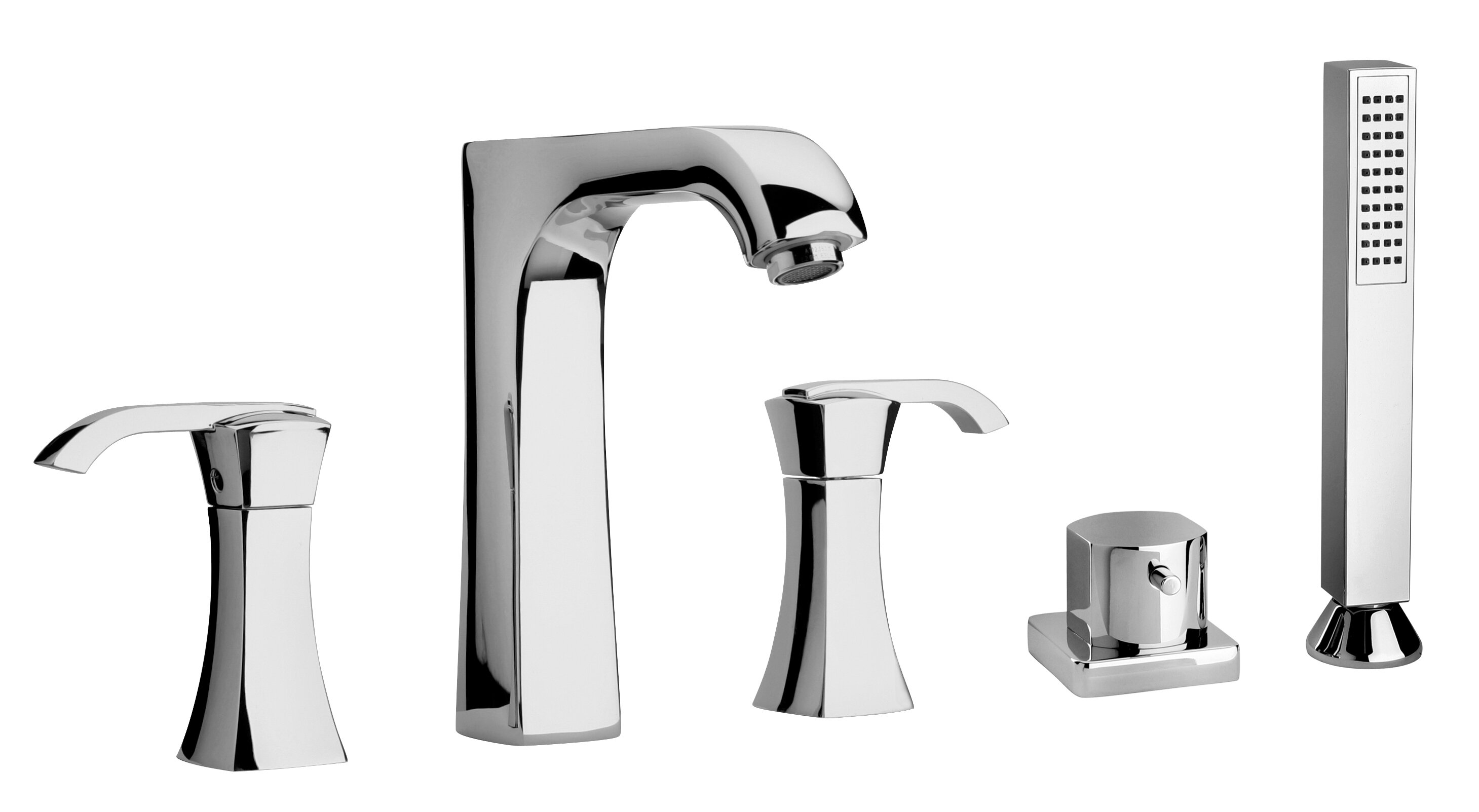 Lady Double Handle Deck Mount Roman Tub Faucet With Hand Shower
