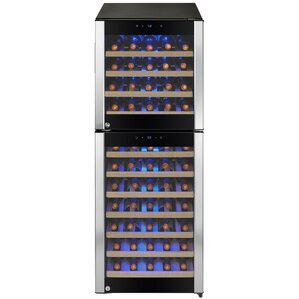 73 Bottle Built-in Compressor Dual Zone Freestanding Wine Cooler by AKDY