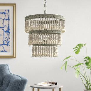 Higden 3 - Light Unique / Statement Tiered Chandelier with Wood Accents