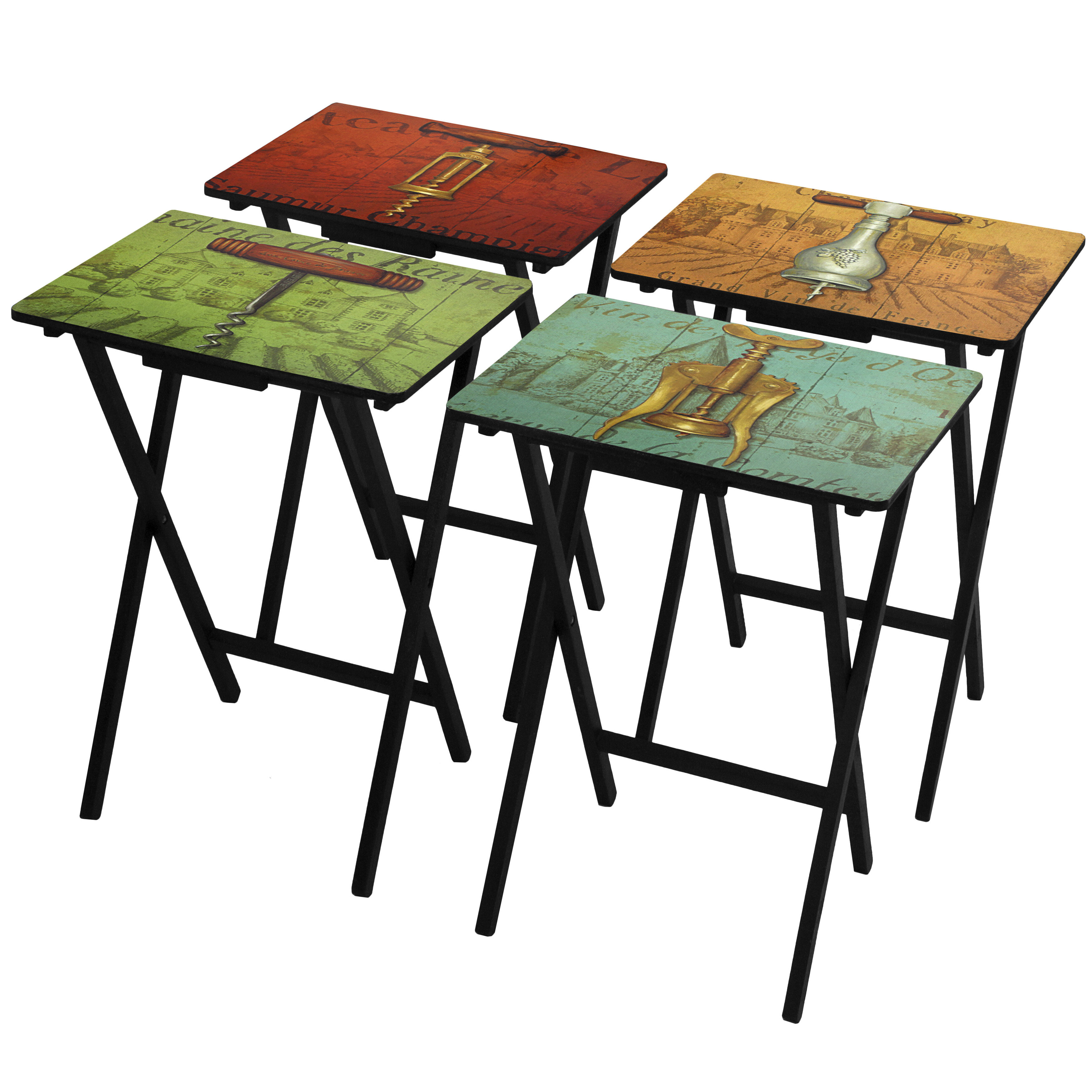 Oriental Furniture 4 Piece Vineyards Of France Tv Tray Set With Stand Wayfair